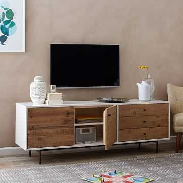 Reclaimed Wood + Lacquer Storage Long Media, Reclaimed Wood / White - West Elm