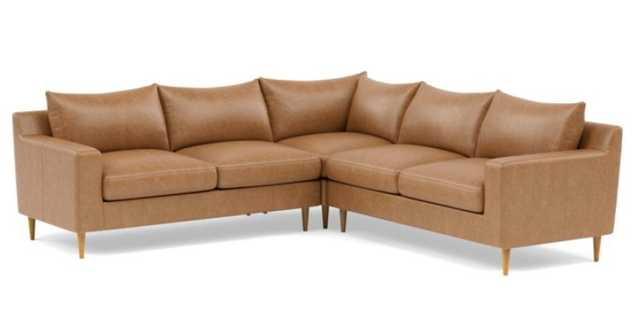 CUSTOM DIMENTIONS: Sloan Leather Corner Sectional with Brown Palomino Leather, Standard cushions, and Natural Oak legs - Interior Define