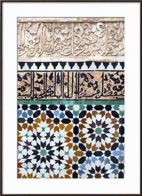 """Traditional Moroccan Zallij Tile Work in the Ben Youssef Medersa Framed Art, 32""""x44"""" - art.com"""