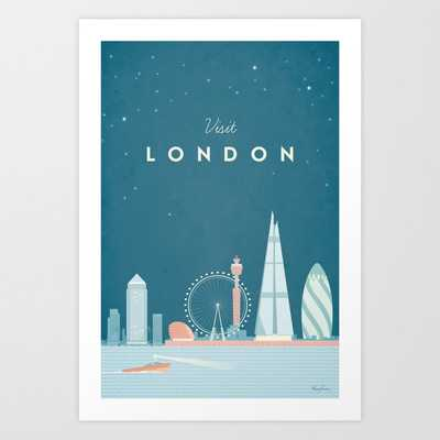 Vintage London Travel Poster Art Print by Travel Poster Co. - Society6