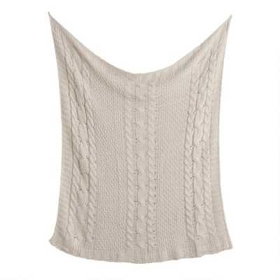 Champagne Chunky Cable Knit Throw Blanket - World Market/Cost Plus