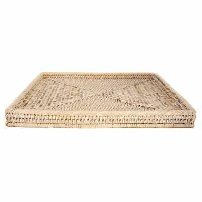 Square Tray Wicker/Rattan Basket - Wayfair