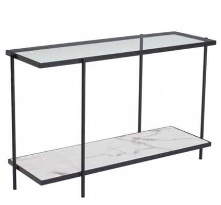 Winslett Console Table Clear & White & Matt Black - Zuri Studios