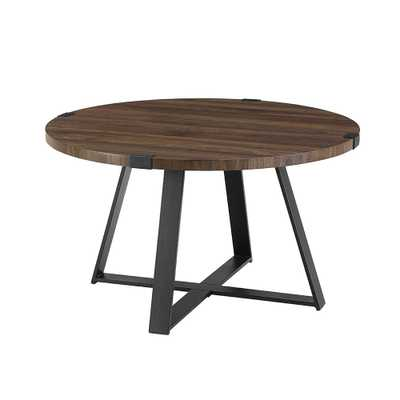 30 in. Dark Walnut/Black Rustic Urban Industrial Wood and Metal Wrap Round Coffee Table - Home Depot