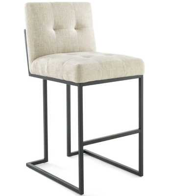 Privy Black Stainless Steel Upholstered Fabric Bar Stool in Black Beige - Modway Furniture