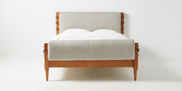Rhys Bed King Turbo Linen Heather Crosshatch Weave - Anthropologie