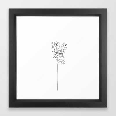 Botanical floral illustration line drawing - Eucalyptus Framed Art Print - Society6