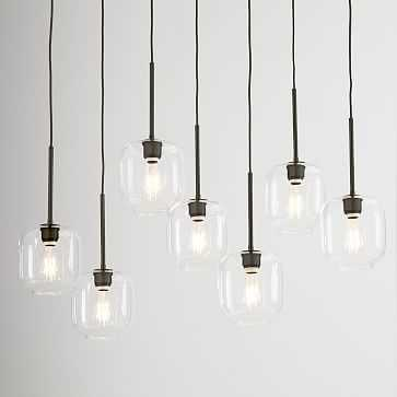 Sculptural Glass 7-Light Linear Chandelier, Small Pebble, Clear Shade, Bronze Canopy - West Elm