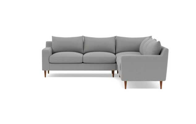 Sloan Right Sectional with Grey Ash Fabric, standard down blend cushions, and Oiled Walnut legs - Interior Define