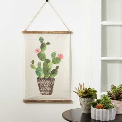 Linen Cactus Design Tapestry with Rod Included - Wayfair