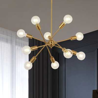 10-Light Sputnik Chandelier Brass Pendant Lighting - Wayfair