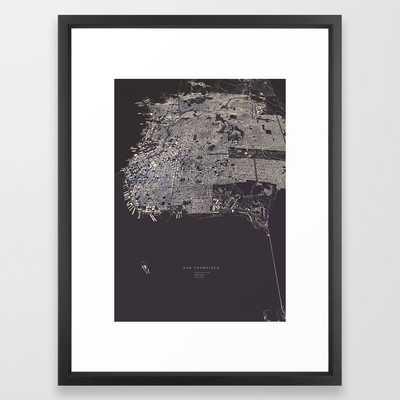San Francisco City Map Framed Art Print by Luis Dilger- vector black 20x26 - Society6