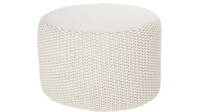 criss knit cream pouf - CB2
