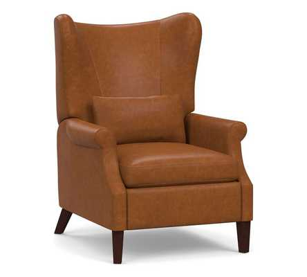 Champlain Square Arm Leather Wingback Recliner, Polyester Wrapped Cushions, Statesville Caramel - Pottery Barn