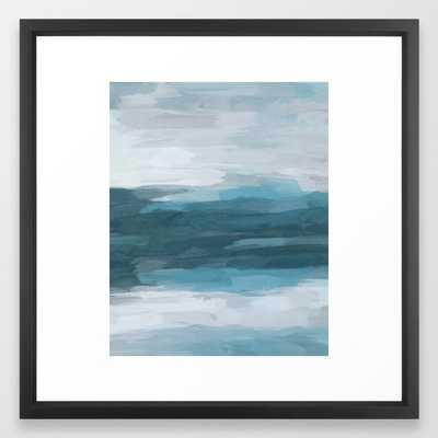 Teal Ocean Blue Gray Abstract Nature Art Painting Framed Art Print by Rachel Elise - Society6