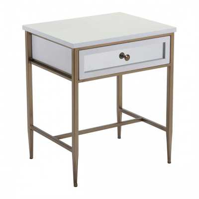 Sten Side Table White & Gold - Zuri Studios