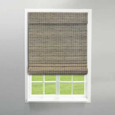 Radiance 35 in. W x 64 in. L Driftwood (Brown) Cordless Flat Weave Bamboo Roman Shade - Home Depot