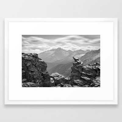 LONGS PEAK BLACK & WHITE COLORADO ROCKY MOUNTAIN NATIONAL PARK LANDSCAPE PHOTOGRAPHY Framed art print - 20x26 - vector white - Society6