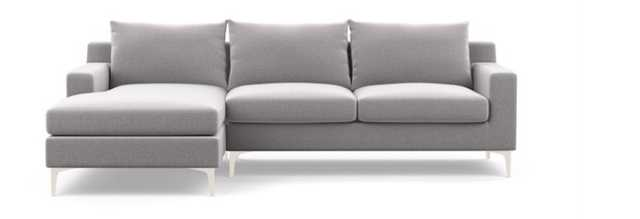 Sloan Left Chaise Sectional in Ash Fabric with White legs 108L - Interior Define