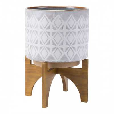 Planter With Wooden Base Lg Gry & Wht - Zuri Studios