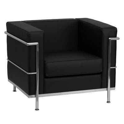 Orren Ellis Contemporary Black Leather Chair With Encasing Frame - Wayfair
