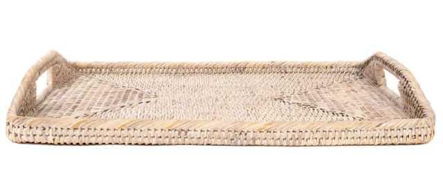 Kye Rattan Rectangular Tray with High Handles - Wayfair