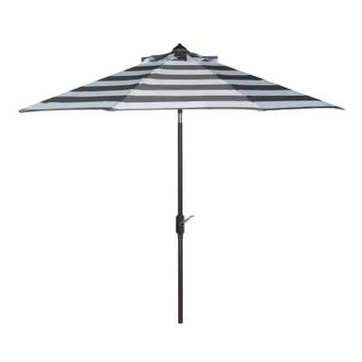 Gray And White Stripe 9 Ft Tilting Outdoor Umbrella - World Market/Cost Plus