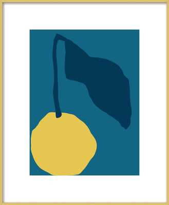 Yellow fruit with blue leaf - 16x20 - Artfully Walls