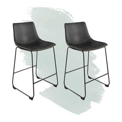 Coleman Counter Stool - Black upholstery/black legs (Set of 2) - Wayfair