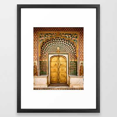 Lotus gate door in pink city at City Palace of Jaipur, India Framed Art Print - Society6