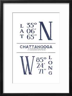 Chattanooga, Tennessee - Latitude and Longitude (Blue) - art.com