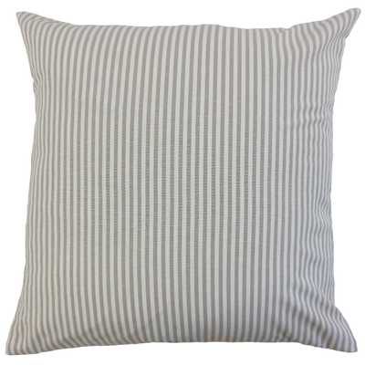 "Classic Stripe Pillow, Slate, 12"" x 18"" Lumbar - Havenly Essentials"