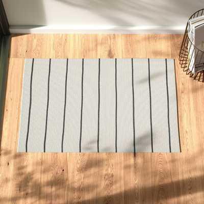 Hadden Striped Handmade Flatweave Ivory/Dark Gray Indoor / Outdoor Area Rug - AllModern