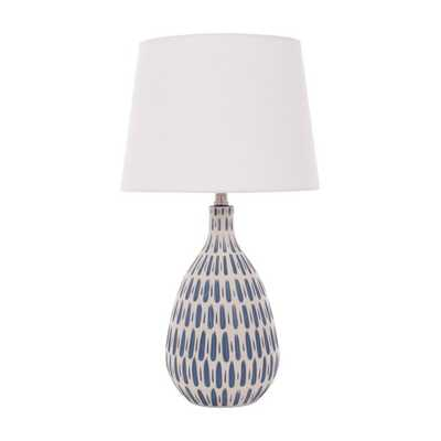 River of Goods White Linen Table Lamp with Ceramic Blue and White Base - Hayneedle