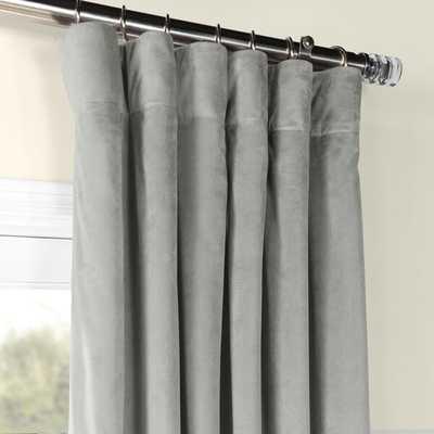 "Albert Velvet Solid Blackout Thermal Rod Pocket Single Curtain Panel - 50"" x 120"" Silver Gray - Wayfair"
