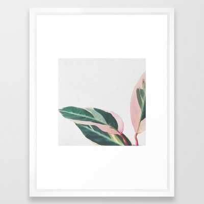 Pink Leaves II Framed Art Print by Cassiabeck - Vector White - 20'' x 26'' - Society6