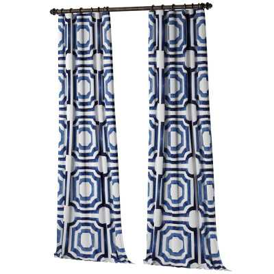 "Donato Geometric Printed Cotton Room Darkening Rod Pocket Single Curtain Panel - Blue, 120"" - Wayfair"