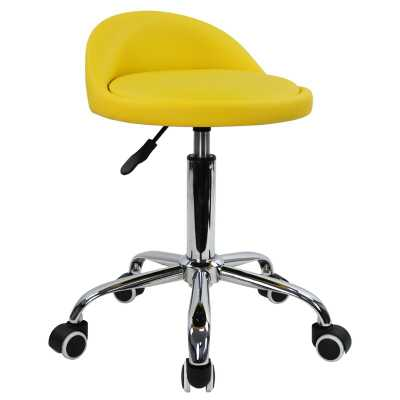 PU Leather Round Rolling Height Adjustable Lab Stool with Footrest - Wayfair