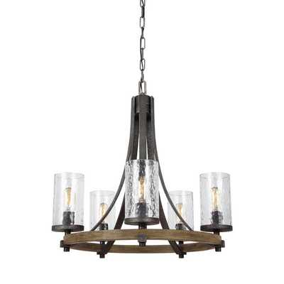 INDUSTRIAL FARMHOUSE WAVY GLASS CHANDELIER - 5 LIGHT - Shades of Light