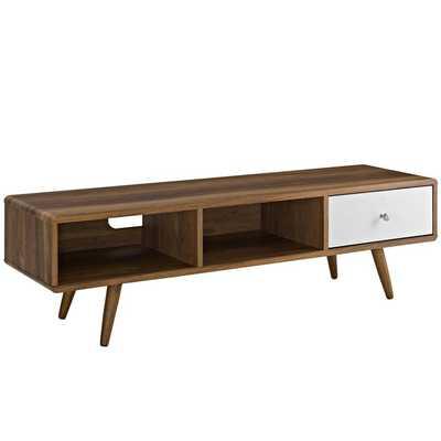 "TRANSMIT 55"" TV STAND IN WALNUT WHITE - Modway Furniture"