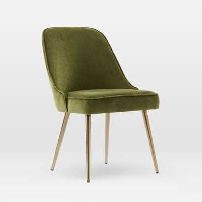 Mid-Century Upholstered Dining Chair - Distressed Velvet, Olive - West Elm