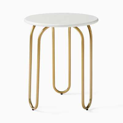 Cecile Side Table, Oyster, Antique Brass - West Elm