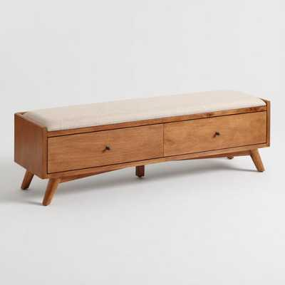 Linen and Acorn Wood Brewton Bench: Pink by World Market - World Market/Cost Plus