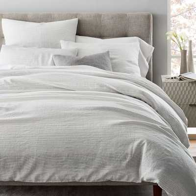 Belgian Flax Linen Graduated Stripe Duvet Cover, Full/Queen, Asphalt - West Elm