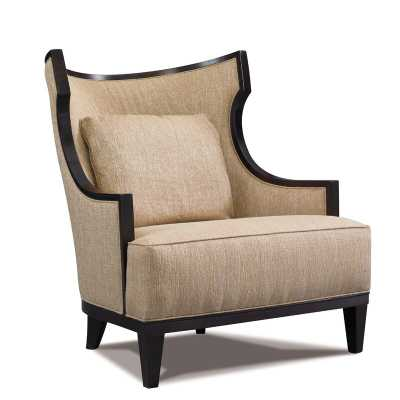 Precedent Furniture Laurie Lounge Chair Upholstery Color: Luxor Ebony, Leg Color: Kahlua - Perigold