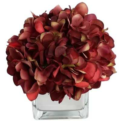 Artificial Silk Hydrangea Floral Arrangements in Decorative Vase - Wayfair