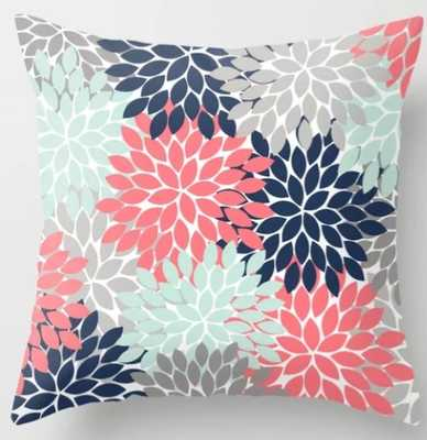 Flower Burst Petals Floral Pattern Navy Coral Mint Gray Throw Pillow - Society6