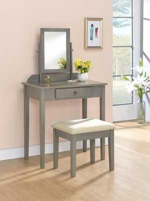 Buster Vanity Set with Stool and Mirror - Gray - Wayfair