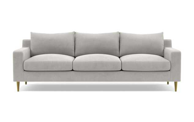 Sloan Deep Sofa with Grey Sterling Fabric, standard down blend cushions, and Brass Plated legs - Interior Define