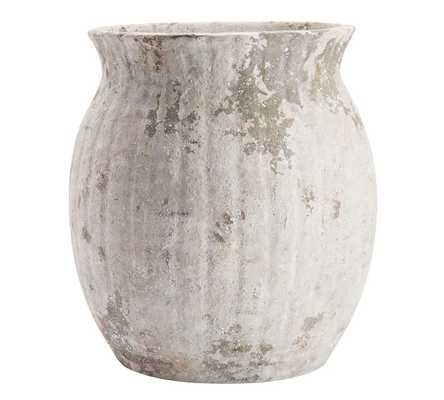 Handcrafted Weathered Terra Cotta Vase, White, Large, 15H - Pottery Barn